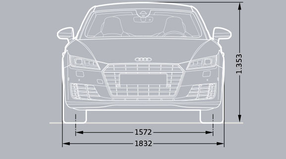 Audi TT Coupe Dimesions Front View